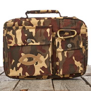 Camouflage with Fish Emblem Bible Cover, Large  -