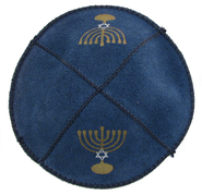 Leather Kippah: Menorah   -
