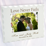 Personalized, Love Never Fails, White Photo Frame  -