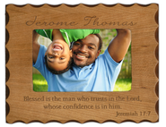 Personalized Wood Photo Frame, Jeremiah 17:7   -