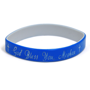 Personalized, God Bless You, Wristband, Script, Blue   -
