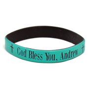 Personalized, God Bless You, Wristband, Bold, Teal   -