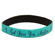 Personalized, God Bless You, Wristband, Script, Teal   -