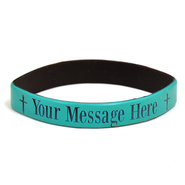 Personalized, Your Message Here, Wristband, Bold, With Cross, Teal  -