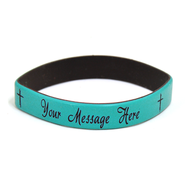 Personalized, Your Message Here, Wristband, Script, With Cross, Teal  -