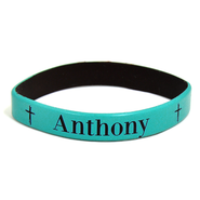 Personalized, Name in Bold, Wristband, With Cross, Teal   -