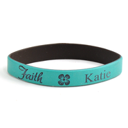 Personalized, Faith Wristband, With Name and Flower, Teal  -
