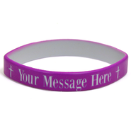 Personalized, Your Message Here, Wristband, Bold, With Cross, Purple  -