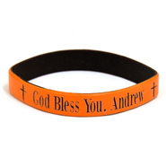 Personalized, God Bless You, Wristband, Bold, Orange   -
