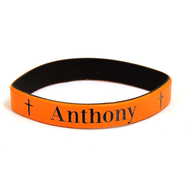 Personalized, Name in Bold, Wristband, With Cross,  Orange  -