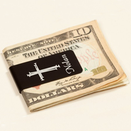 Personalized, Money Clip with Cross and Name, Black   -