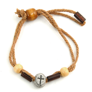 Jute & Wood Cross Bracelet   -