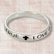 True Love Waits Sterling Silver Thin Band Ring, Size 8  -