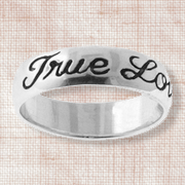 True Love Waits Sterling Silver Cursive Text Ring, Size 9  -