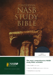 NAS Zondervan Study Bible, Bonded leather, Navy blue,  Thumb-indexed  -              Edited By: Kenneth Barker