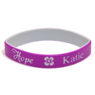 Personalized, Hope Wristband, With Name and Flower, Purple  -