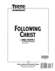 BJU Bible Truths 3: Following Christ Tests    -