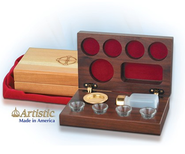 4-Cup Cherry Wood Communion Set  -
