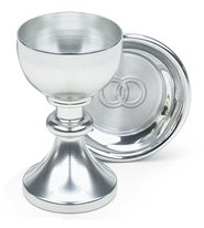Silvertone Wedding Chalice Set  -