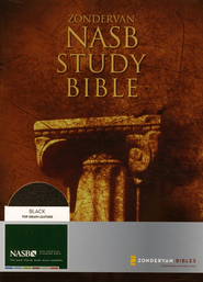 NAS Zondervan Study Bible, Genuine leather, Black, Thumb-Indexed   -