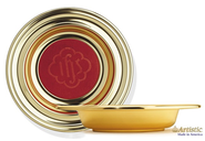 Brasstone Offering Plate with Red Pad, 14 3/4 inch diameter   -