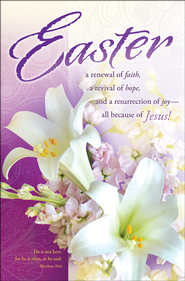 Easter - Purple with Lilies (Matthew 28:6) Bulletins, 100  -