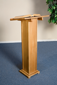 Square Base Lectern, Hardwood Maple with Pecan Finish  -