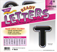 Black 4 In. Colorful Chrome Uppercase Ready Letters  -