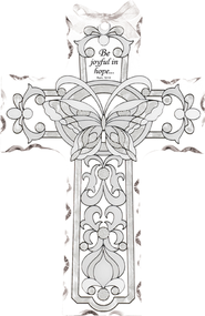 Be Joyful in Hope Butterfly Glass Cross Suncatcher   -