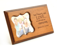 Personalized, Two Hearts One Love, Photo Frame, Cherry   -