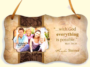 Personalized, With God Everything Is Possible, Hanging Photo Plaque, Tan  -
