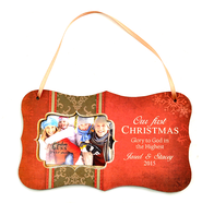 Personalized, Our First Christmas, Hanging Photo Plaque, Red  -
