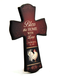 Personalized, Bless This Home Cross, Rooster   -