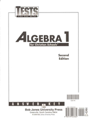 Math 9: Algebra 1, Tests Answer Key   -