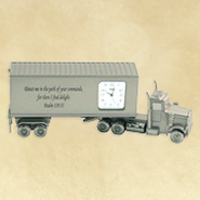 Tractor Trailer Truck Desk Clock, Psalm 119:35  -