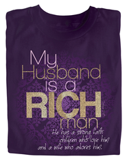 My Husband is a Rich Man Shirt, Purple, Large  -