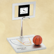 Basketball Hoop Desk Clock, Proverbs 3:5  -