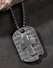 Serenity Prayer Dog Tag Cross Pendant  -