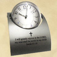 Floating Orb Desk Clock with Photo, Isaiah 61:10  -