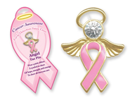 Pink Ribbon Angel Lapel Pin   -