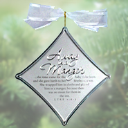 Away in a Manger Christmas Carol Silver Ornament  -