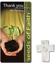 Thank You For Planting Seeds of Faith, Seed Cross with Bookmark  -