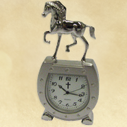 Horse Shoe Desk Clock with Cross  -