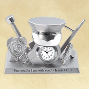 Police Gear Desk Clock, Isaiah 41:10  -