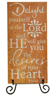 Delight Yourself in the Lord Stone Plaque  -