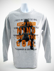 Keep Your Mind On The Goal, Gray Long-sleeve Tee Shirt, X-Large (46-48)  -