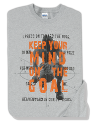 Keep Your Mind On The Goal, Gray Long-sleeve Tee Youth Large (12-14)  -