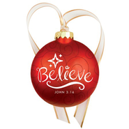 Christmas Swirls - Glass Ornament - Believe  -