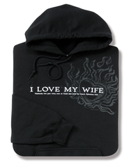 I Love My Wife, Black Hooded Sweatshirt, Small (36-38)  -