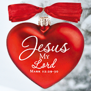 Jesus My Lord, Heart of Christmas Glass Heart Ornament   -